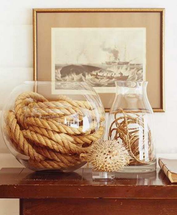rope in class containers on mantel