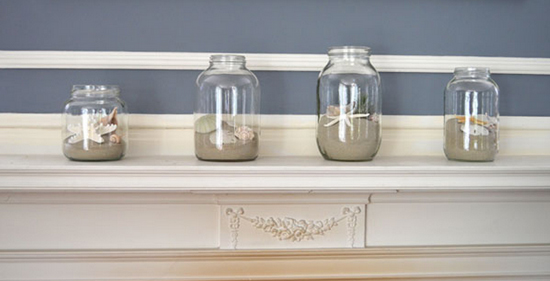 Sand and Shells in Jars on a Fireplace Mantel