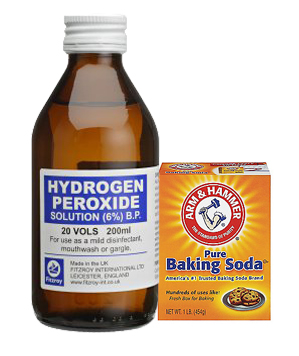 clean slate stains with hydrogen peroxide and baking soda paste