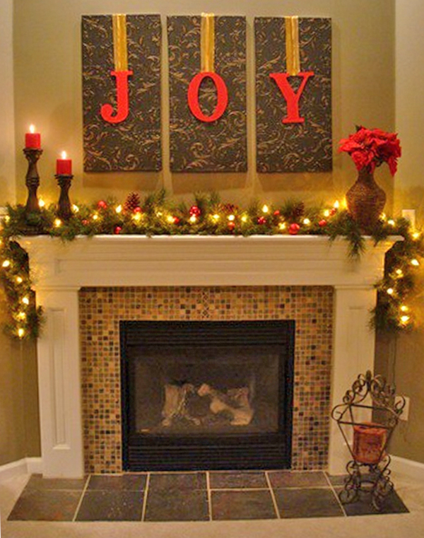 Three letters transform existing fireplace wall art into holiday decor.