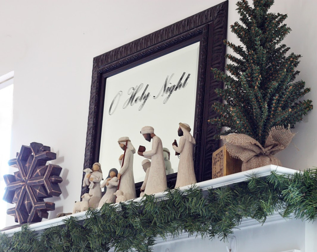Repurpose existing fireplace mirror for Christmas decorating