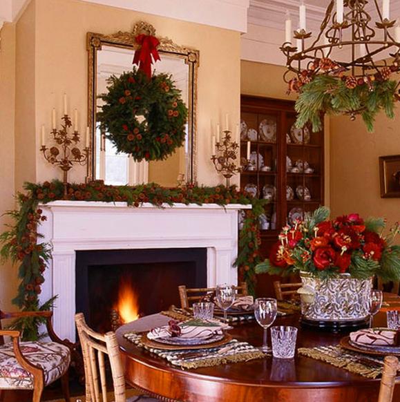Wreath on fireplace mantel mirror