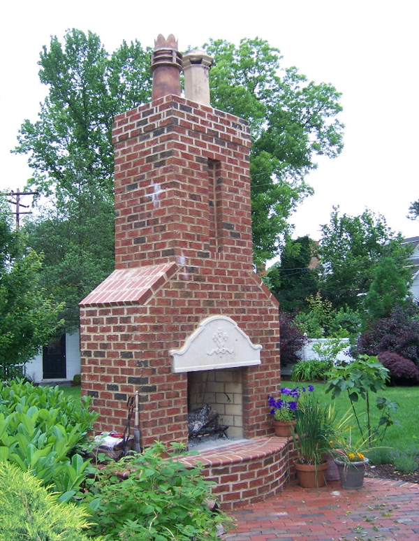 Copper Chimney Pots on Outdoor Chimney