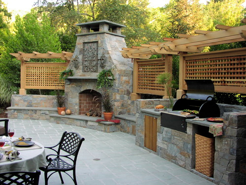 outdoor chimney with stone chimney cap