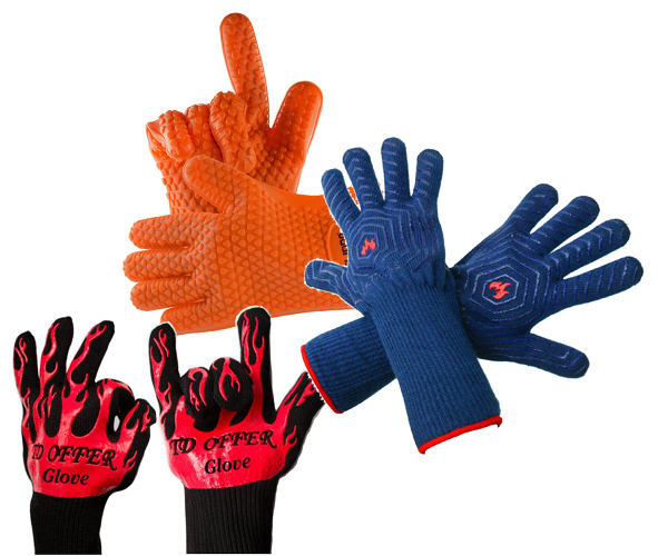 Use heat resistant gloves with your fire pit grill.