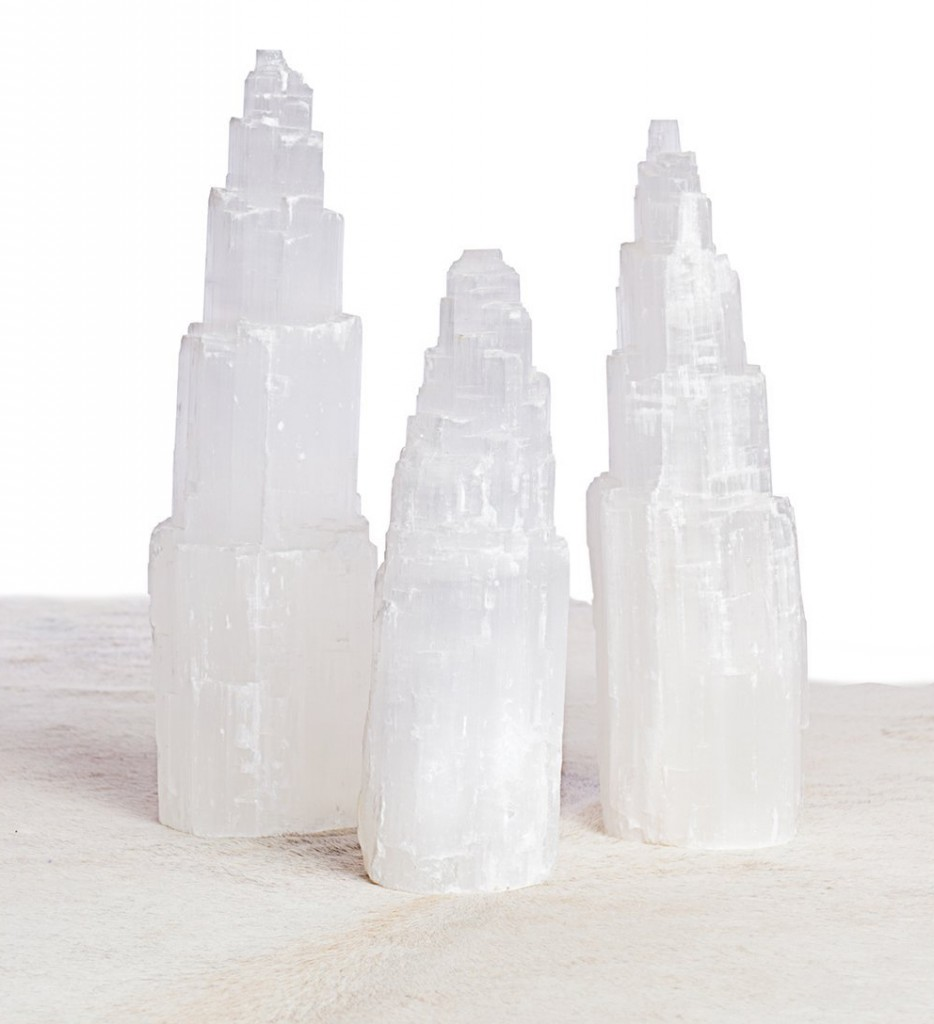 DIY selenite fireplace sculpture
