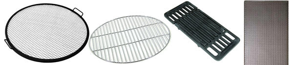 Steel with Powdercoat, Chrome Plated, Cast Iron and Stainless Steel Fire Pit Grills