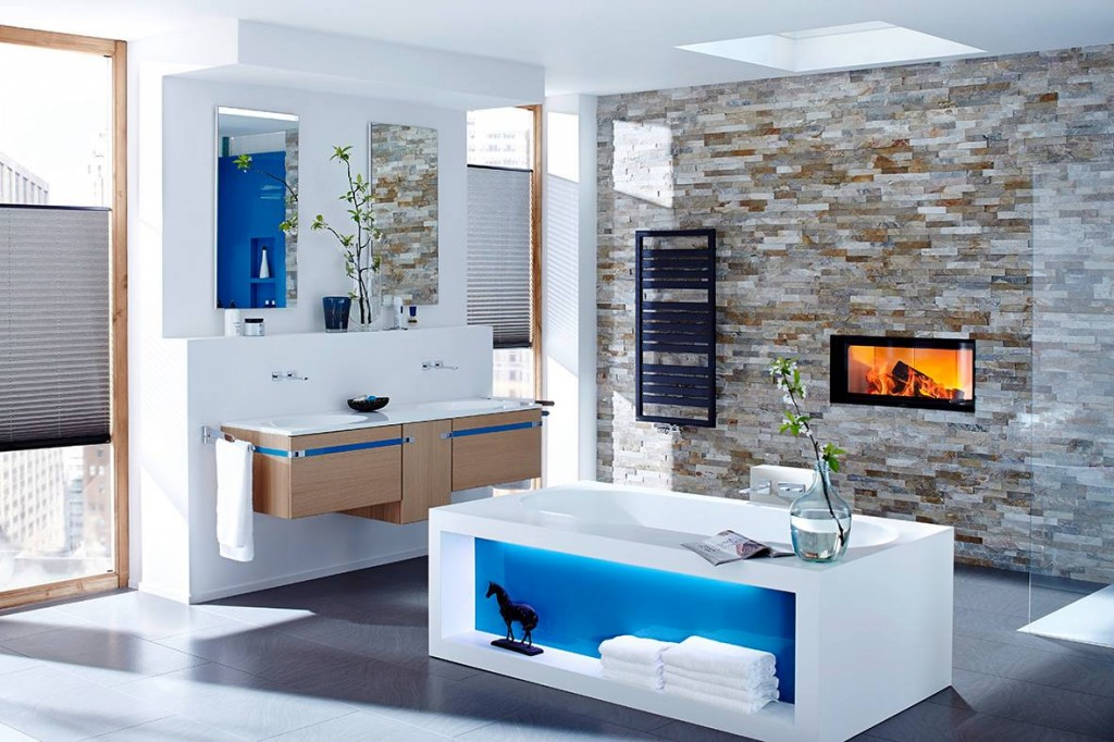 freestanding bathtub in bath with fireplace