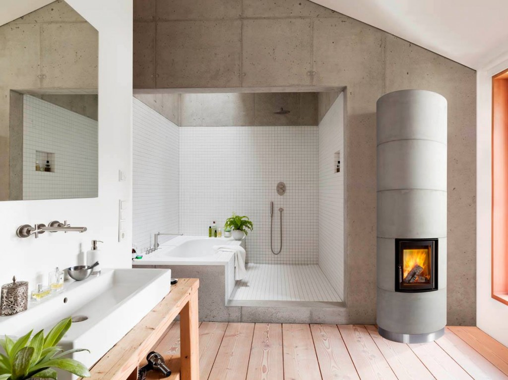 round corner stove in bathroom