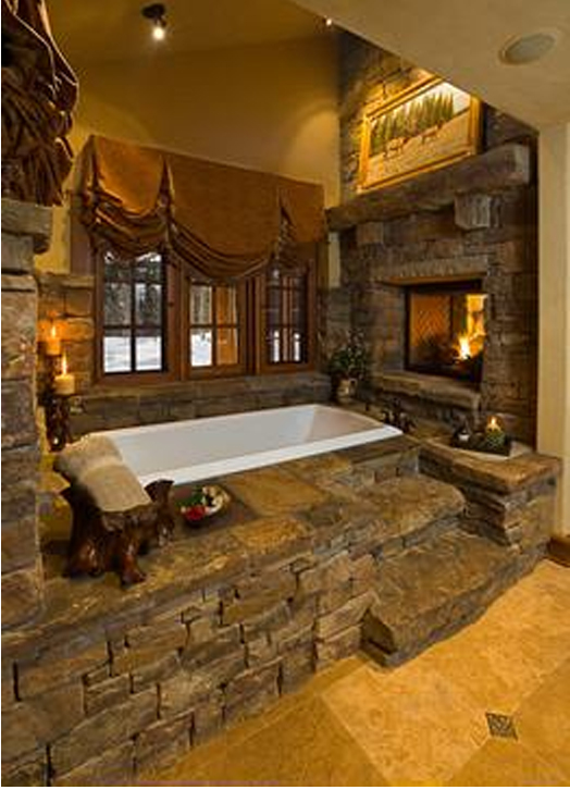 Rustic Bathroom Fireplace