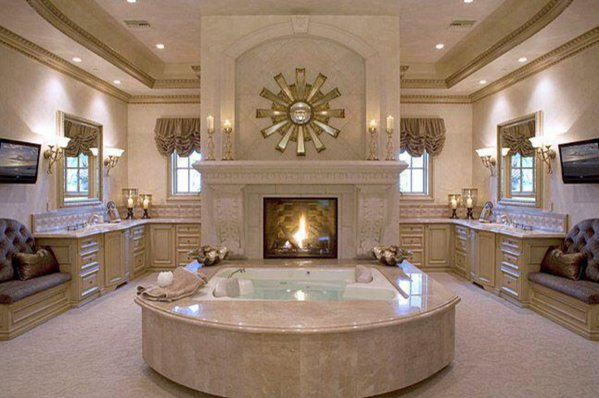 Opulent bathroom fireplace