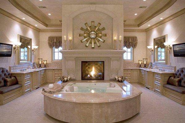 Opulent bathroom fireplace