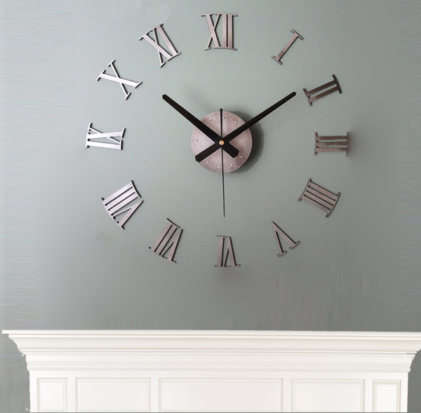 Wall clock stickers above the fireplace.