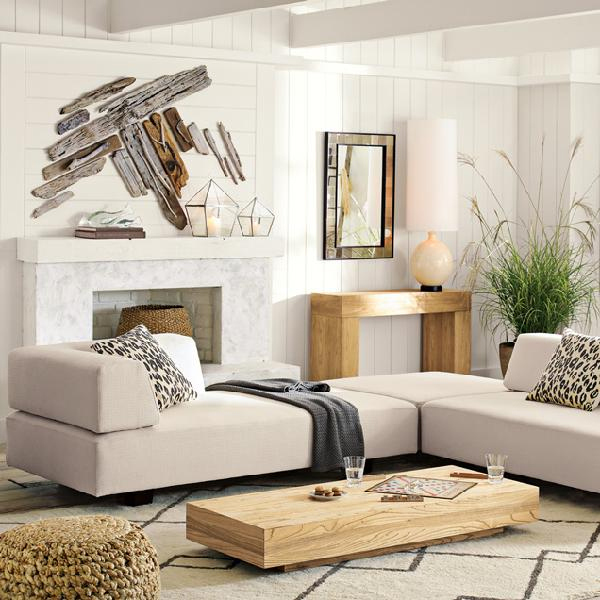 Driftwood decorates fireplace wall