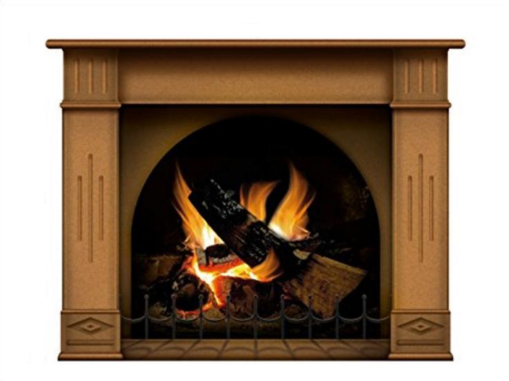 N1241 Fireplace vinyl sticker in medium oak