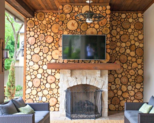 Wood Circles as inexpensive Fireplace Wall Idea