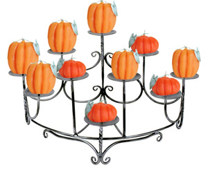 Fireplace Candelabra with pumpkin candles