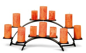Fireplace candelabra with orange candles