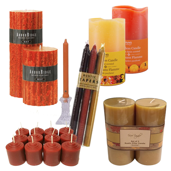candles as elements of fall mantel decorating