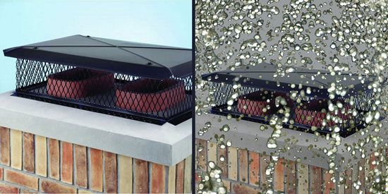 A chimney cap prevents most rain from entering your chimney and fireplace.