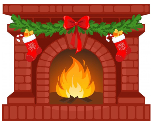 Wallmonkeys Christmas Fireplace Peel and Stick Wall Decal