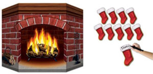 Folding Stand-up Brick Fireplace with 10 Carbdoard Mini-Stockings