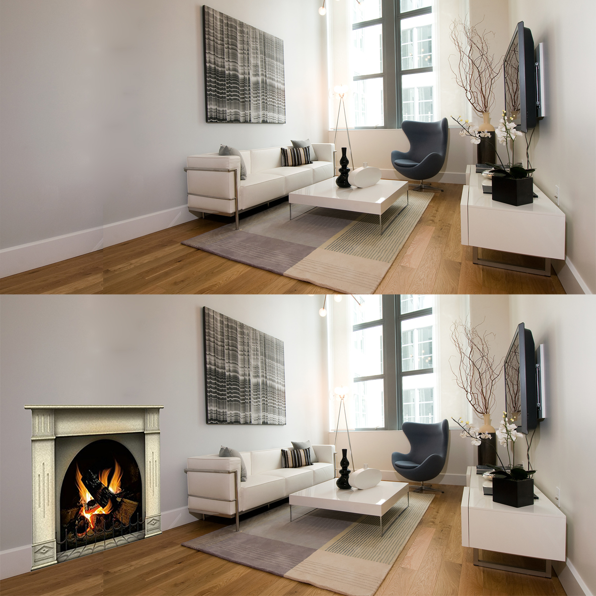 Want a replica fireplace for Christmas stockings and photos? A 3-D cardboard fireplace or removable vinyl wall fireplace decal can be a great substitute.