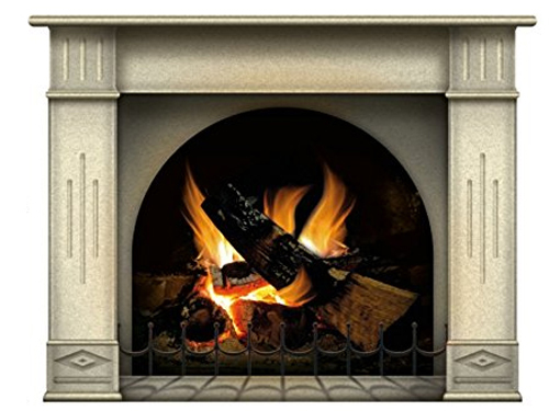N1239 Fireplace Vinyl Sticker with Off-White Mantel