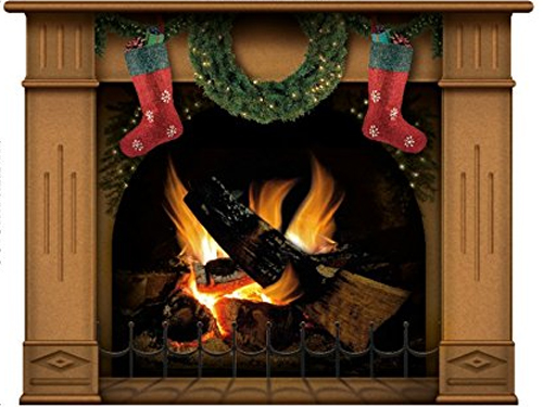 Christmas decorated N1241 Vinyl Fireplace Decal