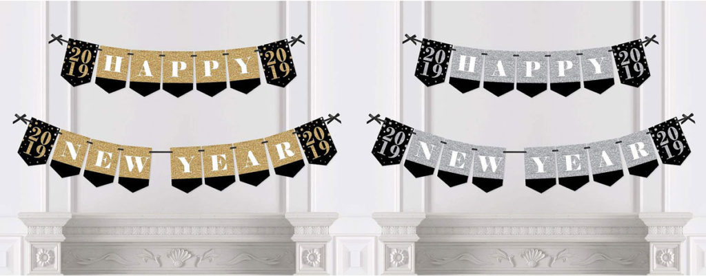 Two-piece New Year Fireplace Banner in Silver or Gold