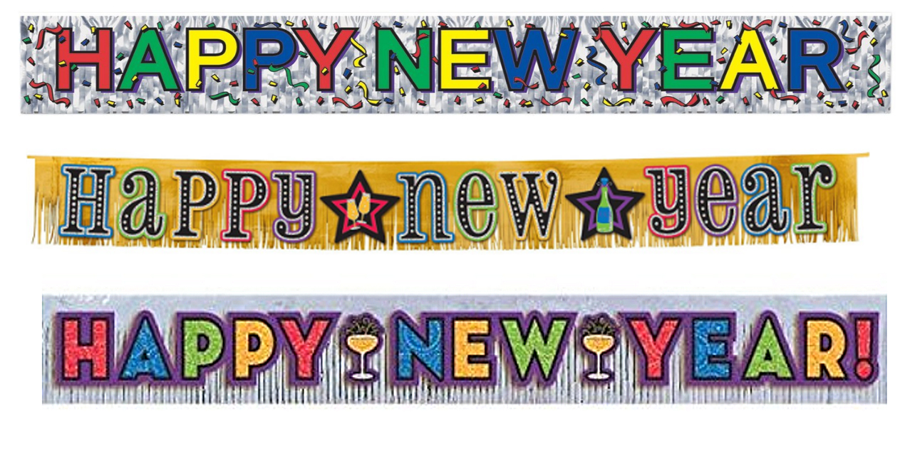 Foil Fringed New Year Fireplace Banners
