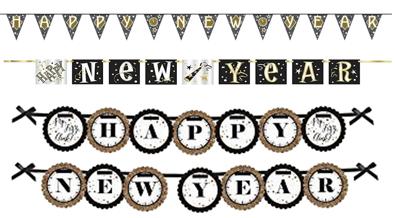 Triangle, square, and circular individual letter New Years banners.