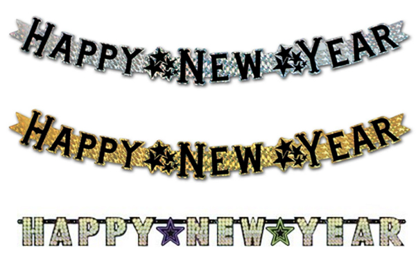 Prismatic New Year Fireplace Banners