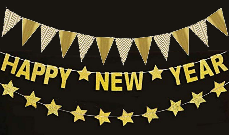 Gold Glitter Pennants, Stars and Happy New Year Fireplace Banners