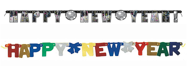 Jointed or Hinged New Year Fireplace Banners