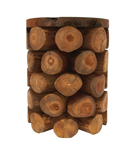 Outward-Facing Logs Stool, 14 by 18 inches