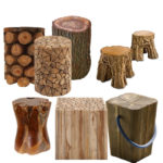 DIY Fire Pit Log Stump Stools
