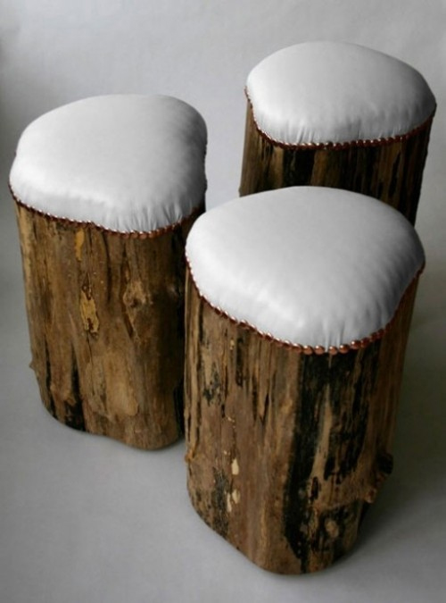 fire pit log stool with cushioned seat