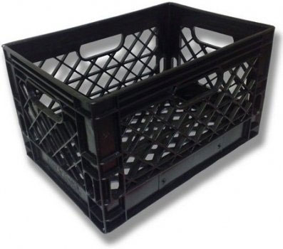 large square container such as milk crate