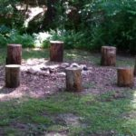 fire pit log seats - stumps in circle around fire pit