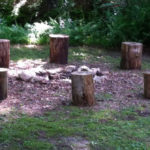 fire pit log seats - stumps in fire circle