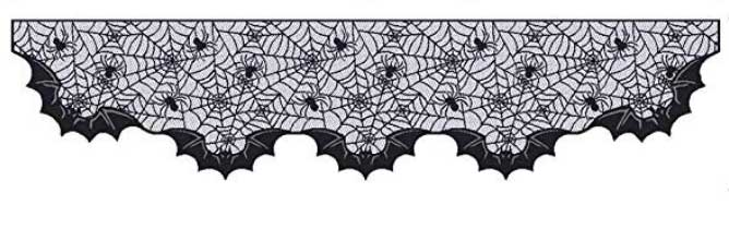 Spider web mantel scarf with spiders and bats