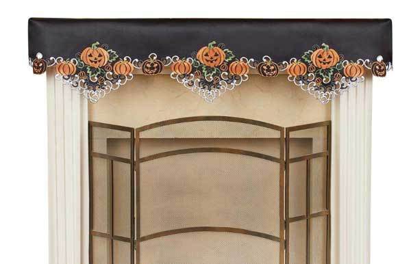 Black Embroidered Pumpkins and Jack-o-Lanterns Mantel Scarf