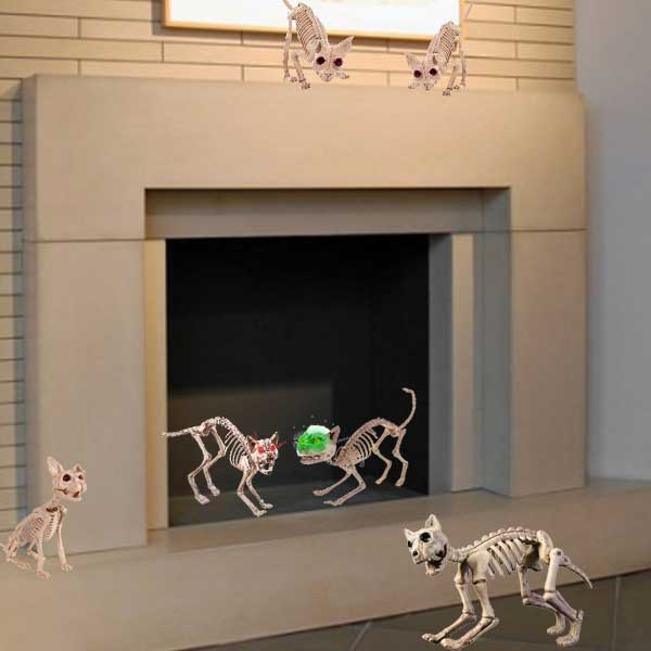 cat Halloween skeleton fireplace