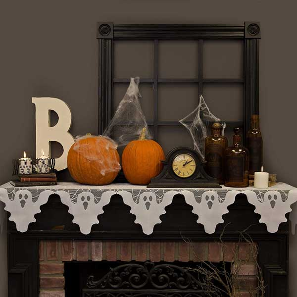 "White Ghost Bordered, 20"" by 82"" Halloween Fireplace Mantel Scarf"