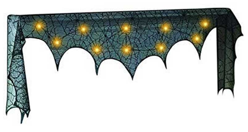 Lighted Spider Web Mantel Scarf