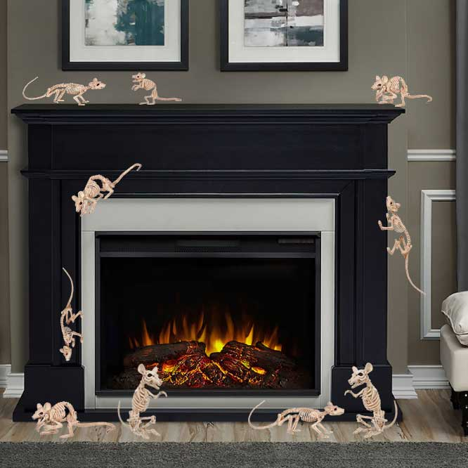 Rat skeletons and mice skeletons scamper around the fireplace