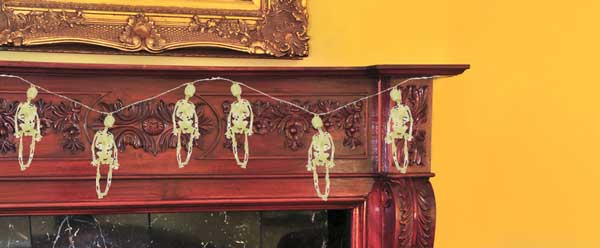 skeleton garland for fireplace mantel