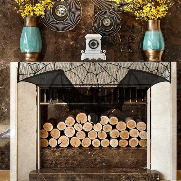 spider web Halloween fireplace mantel scarf with a huge bat
