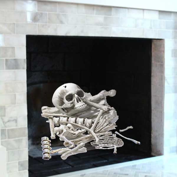 scattered bones replace logs in fireplace for Halloween
